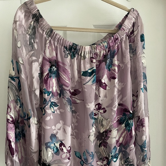 Silk & Rayon Off the Shoulder Floral Print Blouse